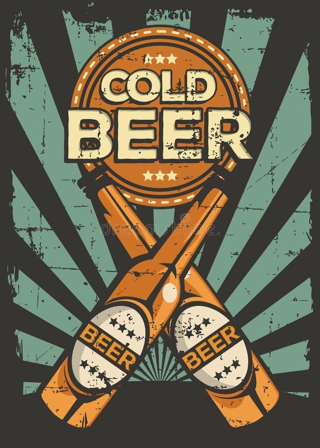Vector retro de la señalización del vintage de la cerveza fría libre illustration