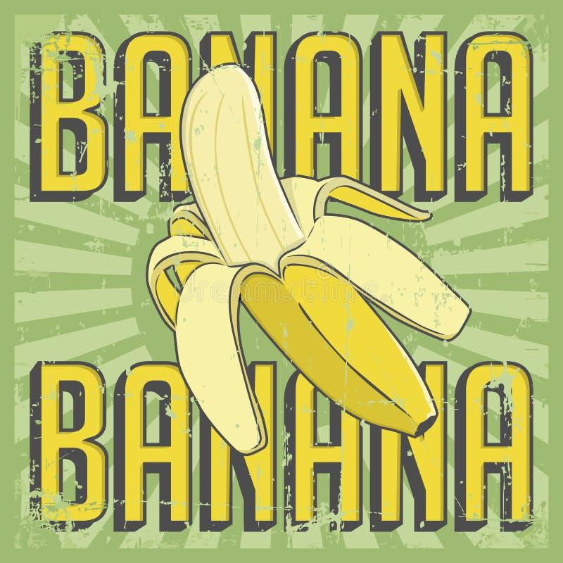 Vector retro de la señalización del vintage del plátano ilustración del vector