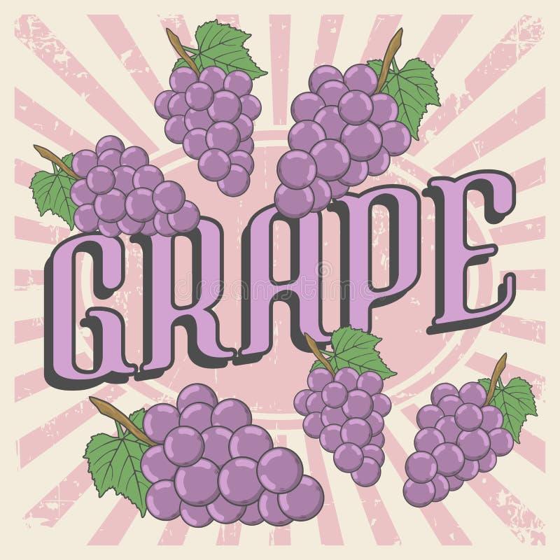 Vector retro de la señalización del vintage de la uva libre illustration