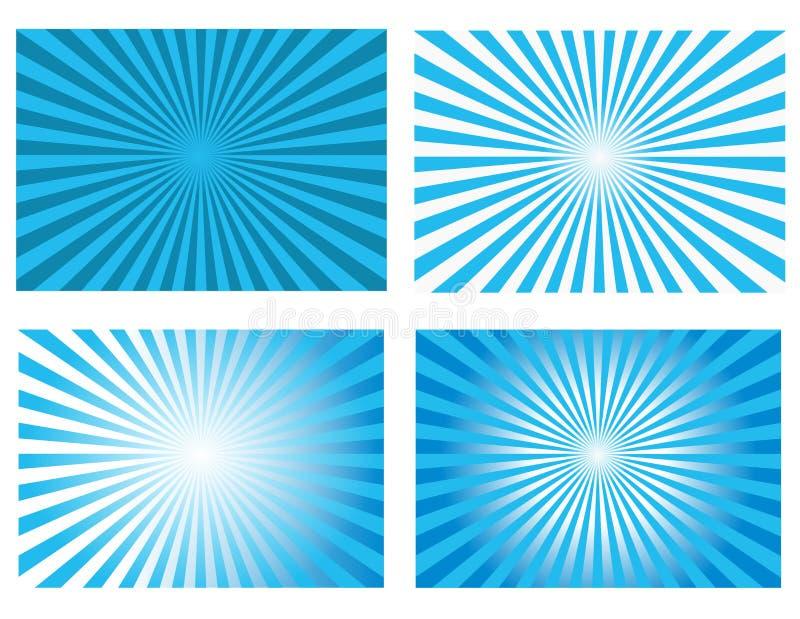 Vector retro de los fondos del resplandor solar azul libre illustration