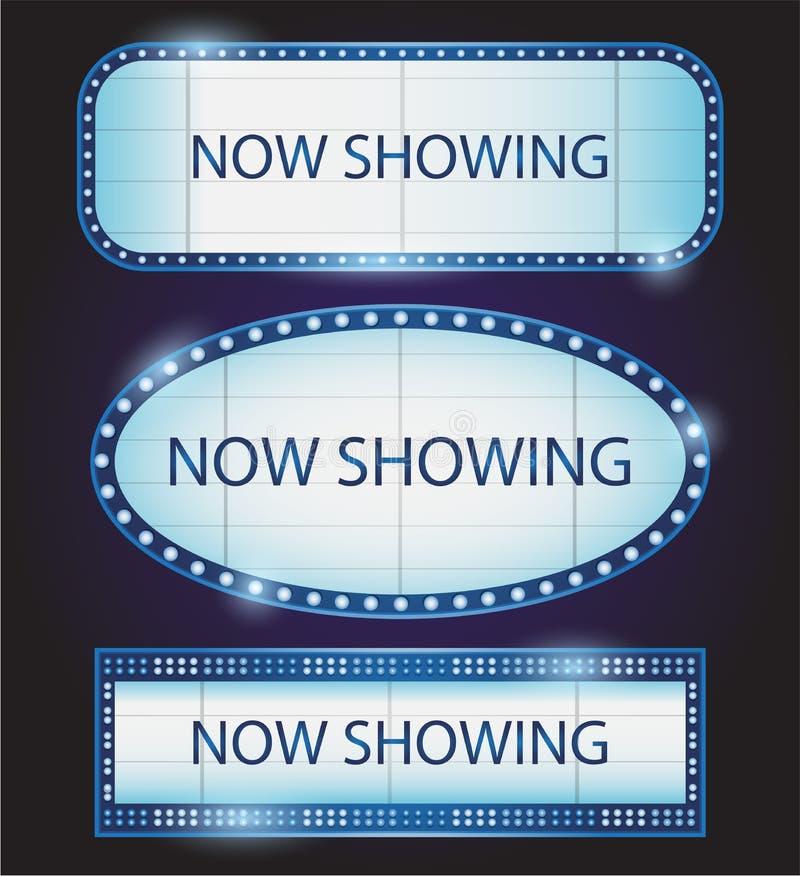 Vector retro del cine del teatro de la muestra de Showtime ilustración del vector