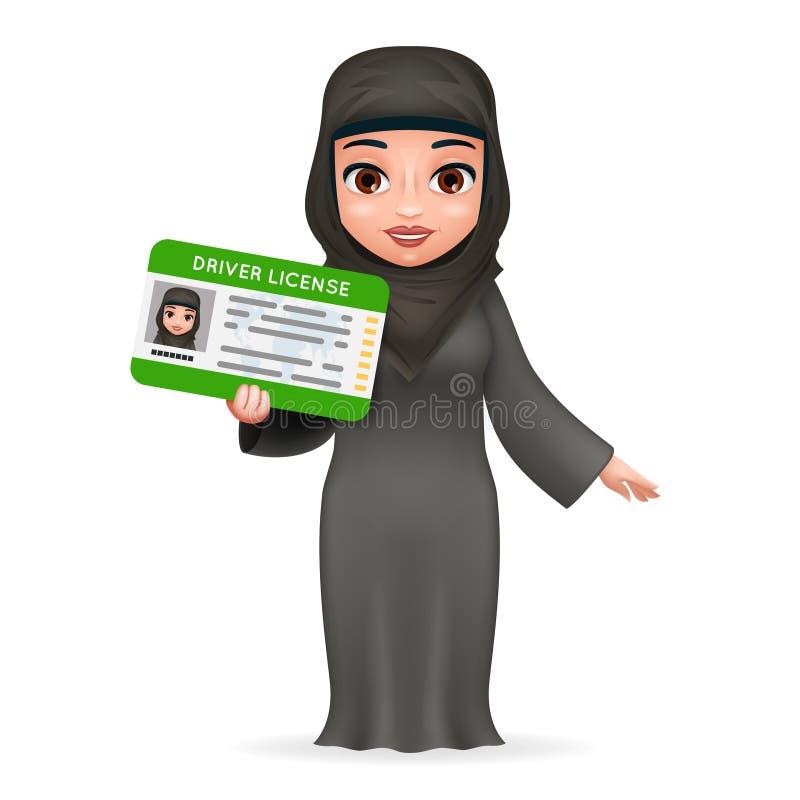 Vector retro del diseño 3d del coche del personaje de dibujos animados del carné de conducir de la ropa musulmán nacional tradici libre illustration