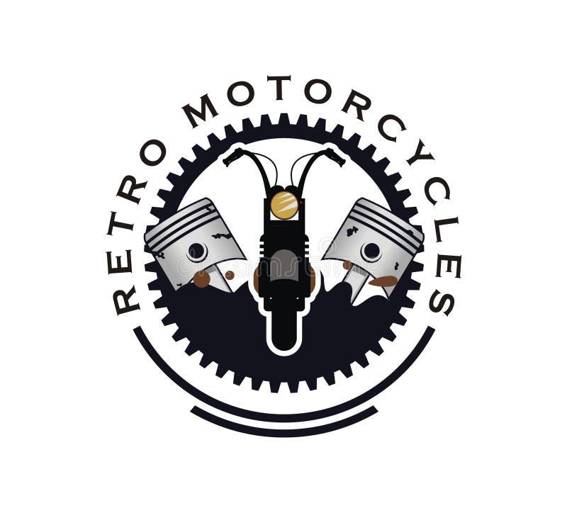 Vector retro del diseño del logotipo de la motocicleta stock de ilustración