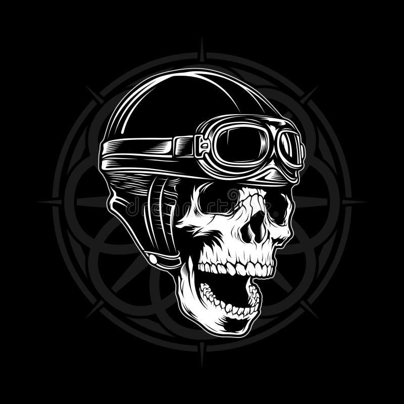 Vector retro 1 del paseo del cráneo del casco ilustración del vector