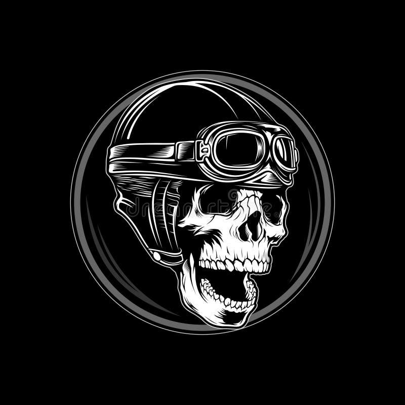 Vector retro 2 del paseo del cráneo del casco stock de ilustración