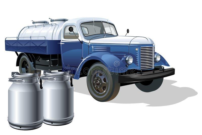 Vector retro delivery milk tanker truck vector illustration