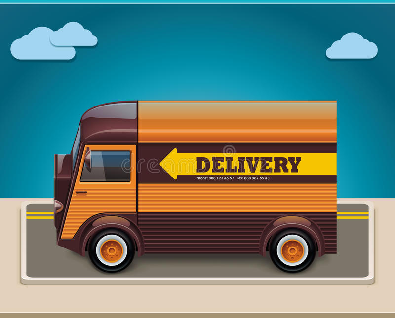 Vector retro delivery van XXL icon vector illustration