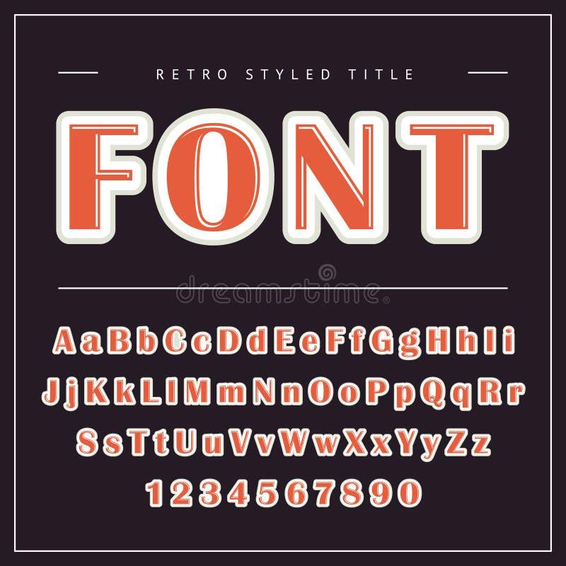 Vector retro doopvont Uitstekend alfabet vector illustratie
