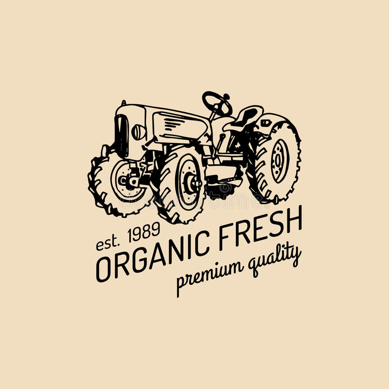 Free Vector Retro Farm Fresh Logotype.Organic Premium Quality Products Logo.Eco Food Sign.Vintage Hand Sketched Tractor Icon. Stock Photography - 89631122