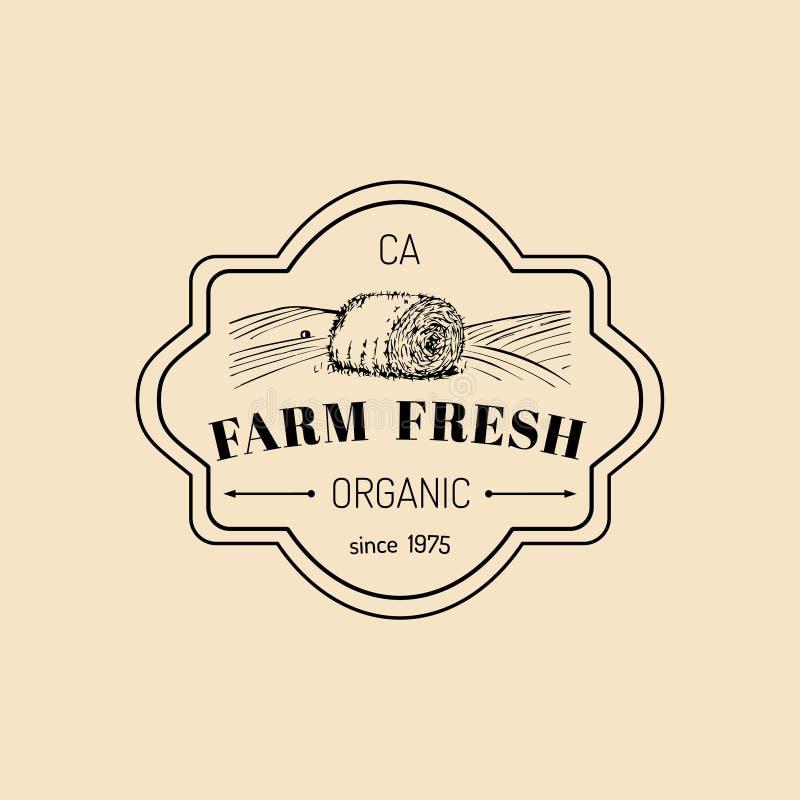 Vector retro farm fresh logotype. Organic premium quality products logo. Vintage hand sketched haystack icon. Vector retro farm fresh logotype. Organic premium stock illustration