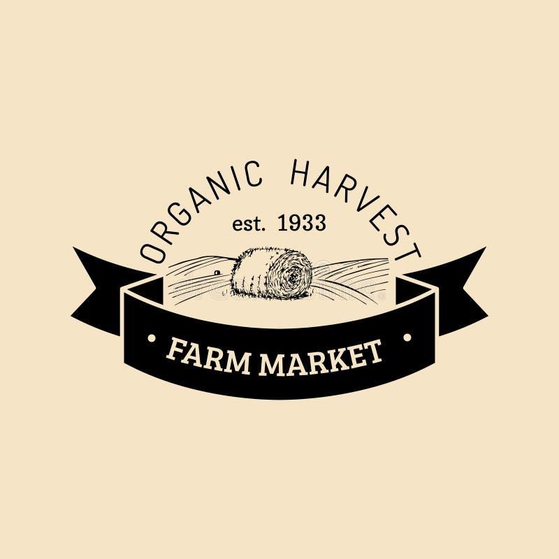 Vector retro farm fresh logotype. Organic premium quality products logo. Vintage hand sketched haystack icon. Vector retro farm fresh logotype. Organic premium royalty free illustration