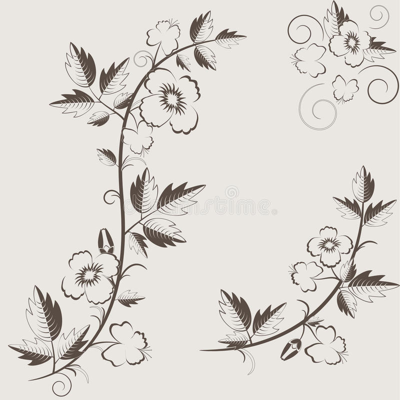 Vector retro floral background with flowers stock illustration