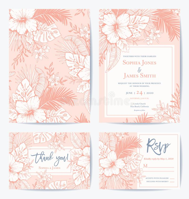Vector Retro Floral Exotic Tropical Wedding Invitation, Thank you, RSVP Card Set. See portfolio for matching dinner set vector illustration