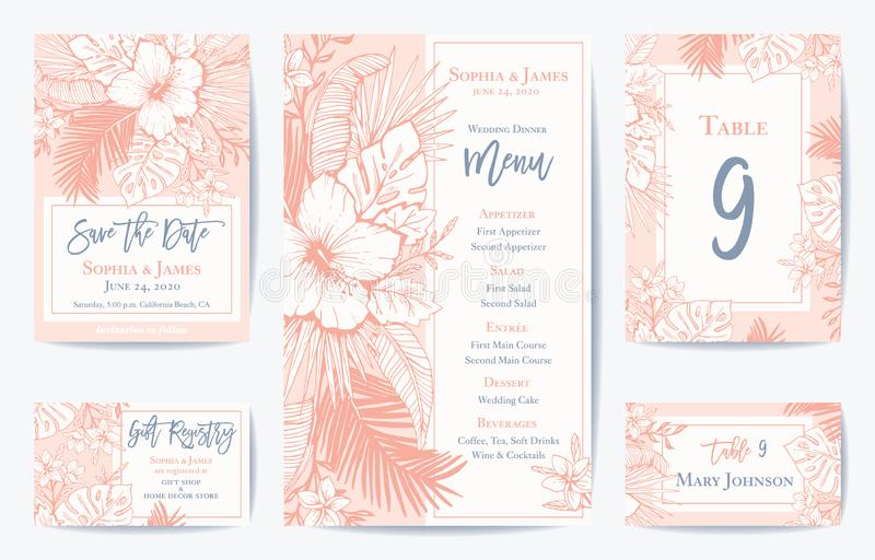 Vector Retro Floral Exotic Tropical Wedding Save the Date, Menu Card Set. See portfolio for matching invitation set royalty free illustration