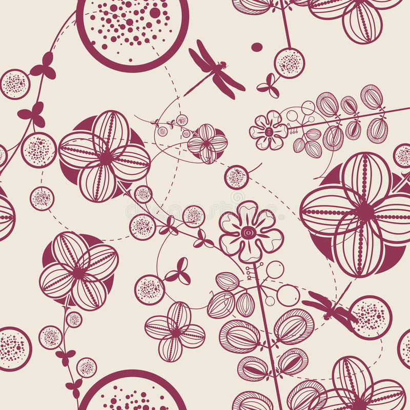Vector Retro Floral (Seamless Pattern) royalty free stock image