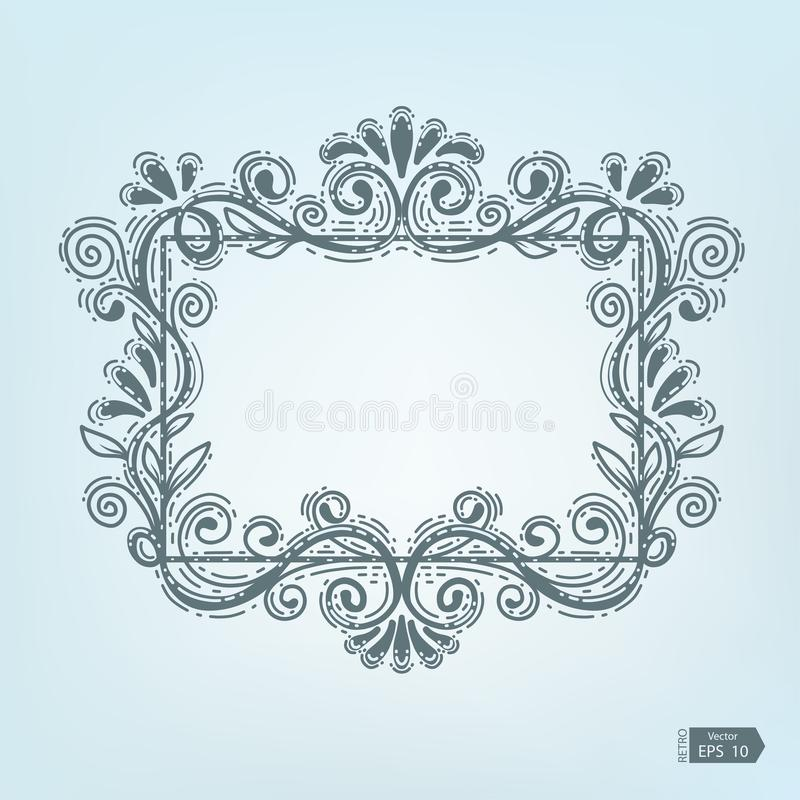 Vector retro frames .Old frame on aged paper with empty space for text royalty free illustration