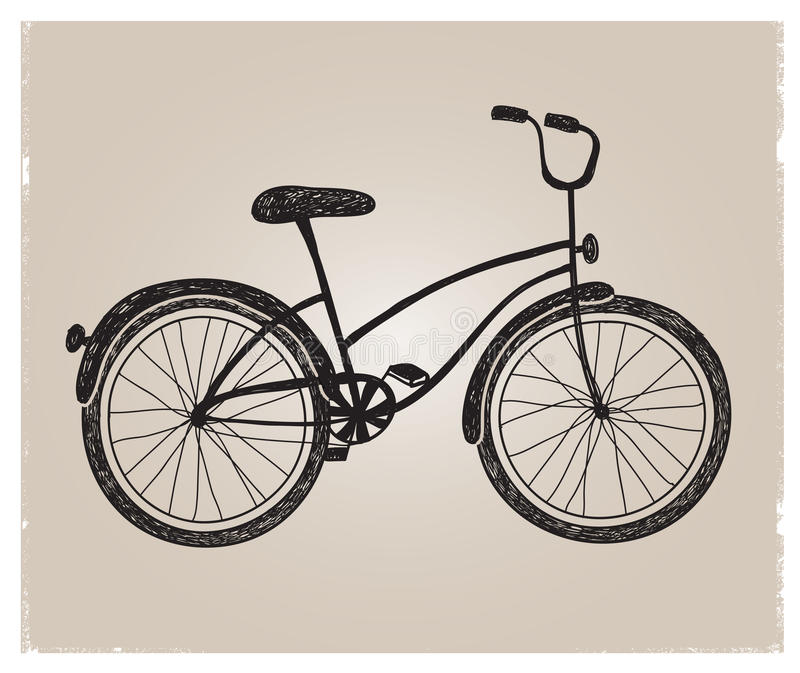 Vector retro hand drawn bicycle silhouette royalty free illustration