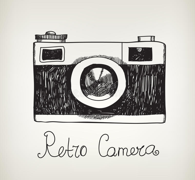 Vector retro hand drawn hipster photo camera stock illustration