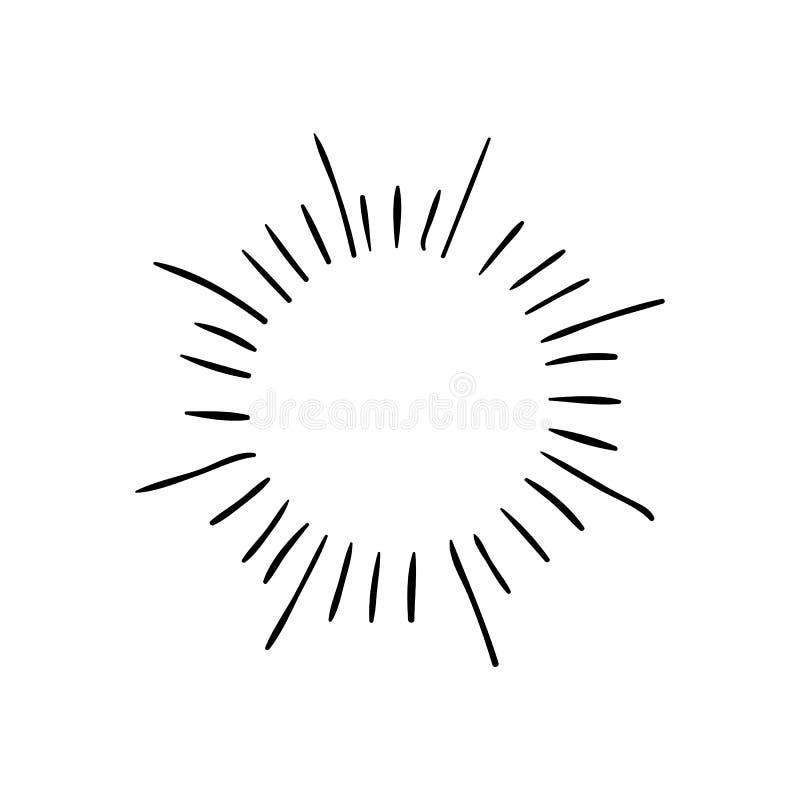 VECTOR Retro- Hand gezeichnete Sonnendurchbruchsymbole, schwarze Zeichnungen lizenzfreie abbildung