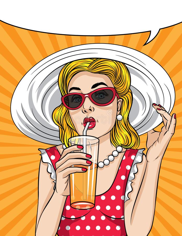 Summer time vintage poster of a beautiful girl drinking a cocktail with orange juice vector illustration