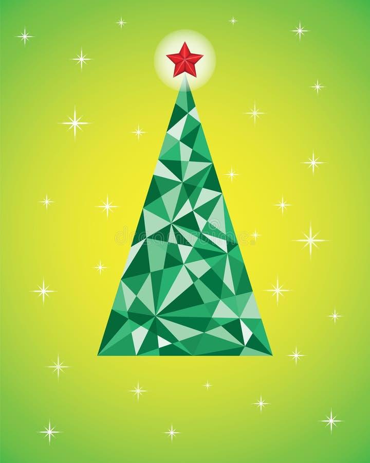Vector Retro- Karte mit abstraktem grünem Weihnachtsbaum lizenzfreie abbildung