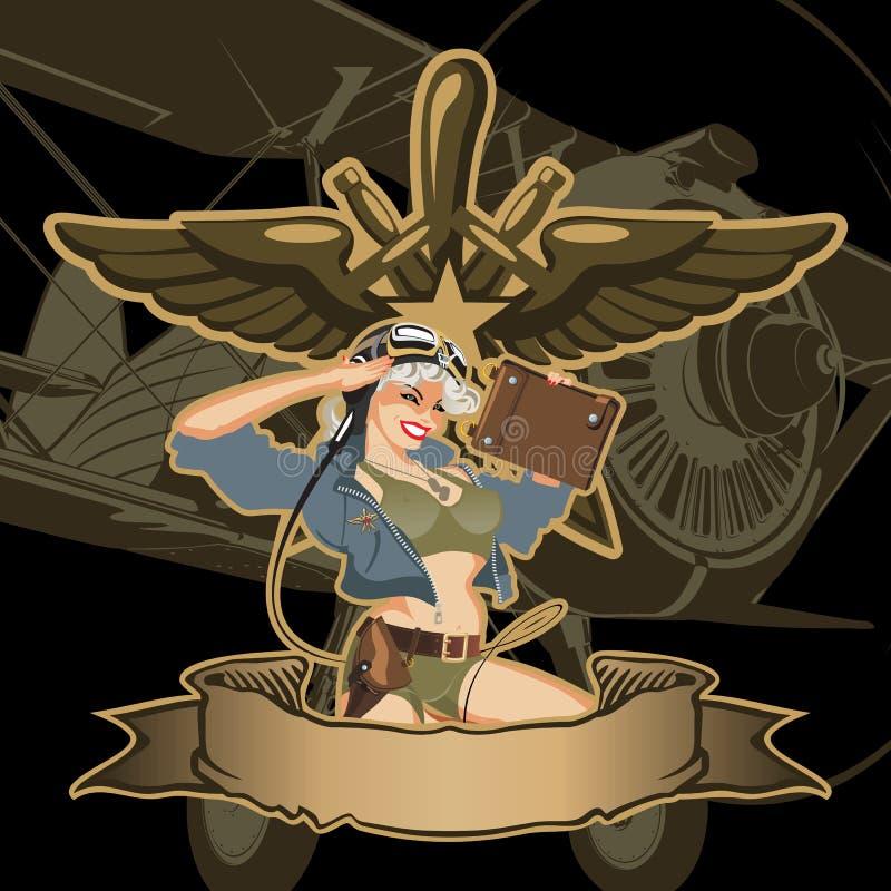 Vector retro militaire speld-omhooggaand vector illustratie
