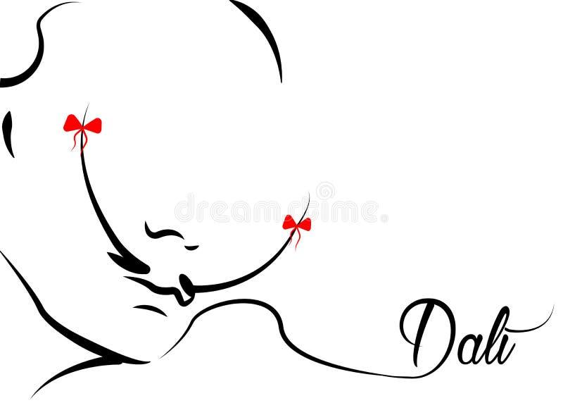 Vector retro` MOUSTACHE icon , Salvador Dalì style, isolated or white background. Vector portrait retro` MOUSTACHE icon, Salvador Dali` surrealist style stock illustration