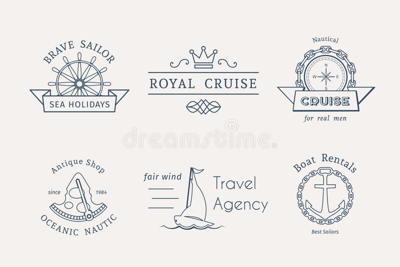 Vector retro nautical logo templates royalty free illustration