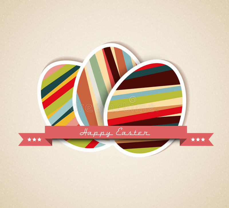 Download Vector Retro Paper Easter Egg Card Stock Vector - Image: 23545563