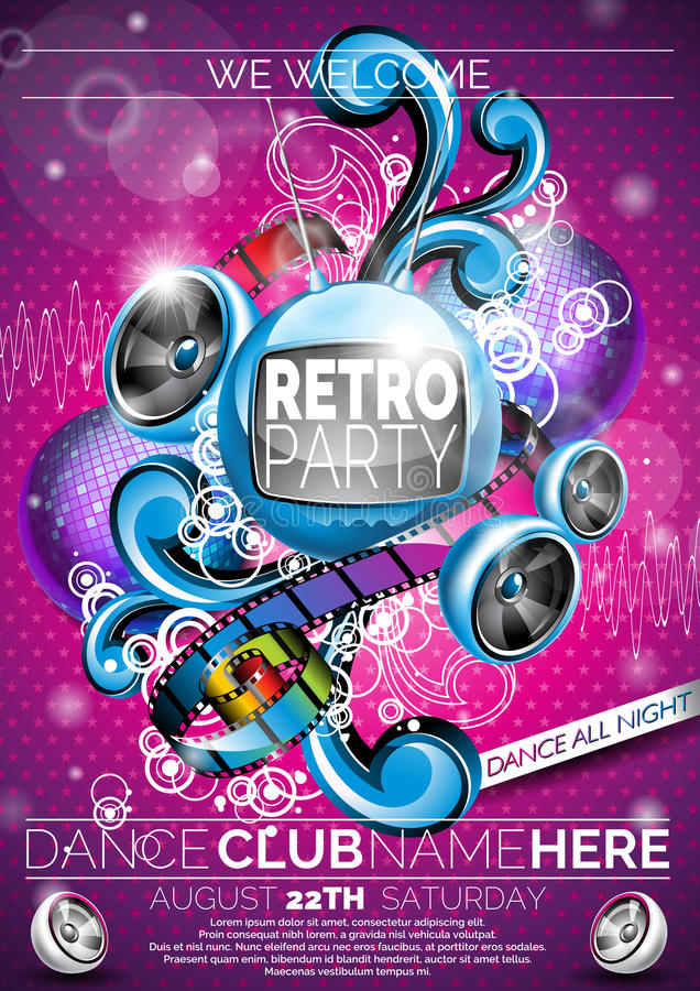 Vector Retro Party Flyer Design with speakers pink background. vector illustration