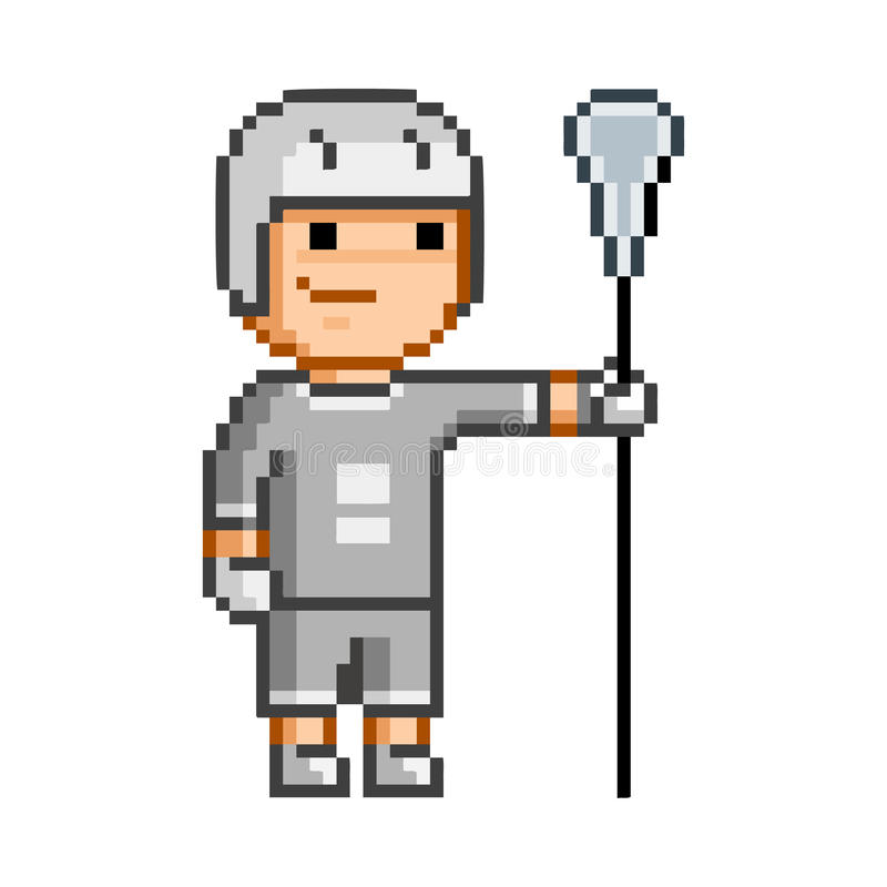 Vector retro pixel art funny lacrosse player stock illustration
