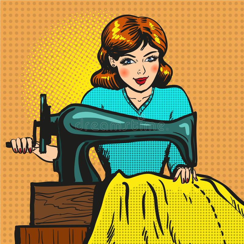 Vector retro pop art illustration of seamstress sewing on machine. Vector illustration of young woman seamstress sewing on machine. Atelier, sewing workshop stock illustration