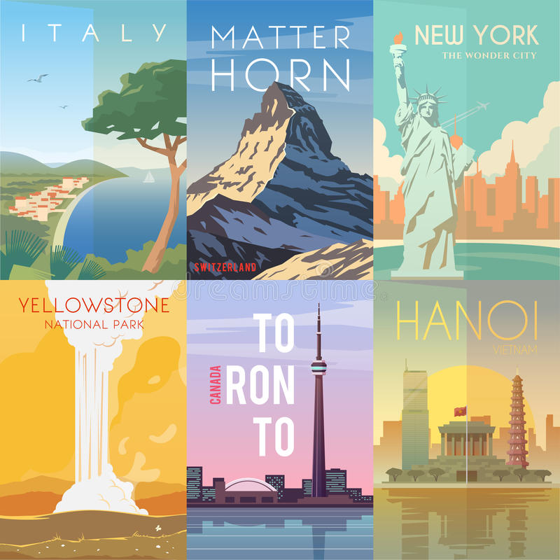 Vector retro posters set. Italy. Matterhorn, Switzerland. New York, USA. Yellowstone National Park USA Toronto Canada Hanoi Vietnam stock illustration