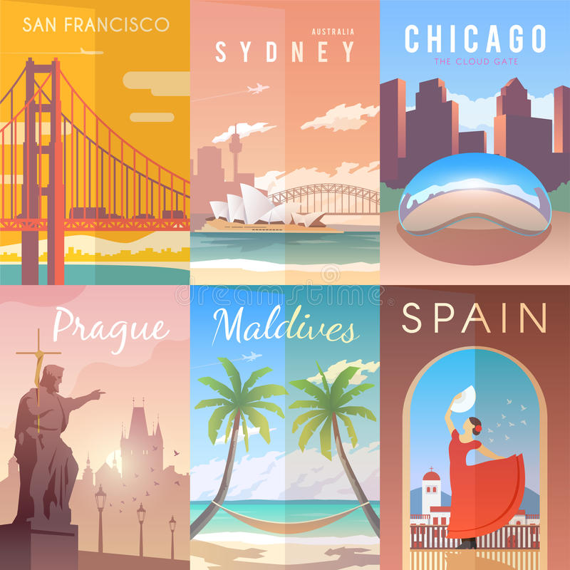 Vector retro posters set. vector illustration