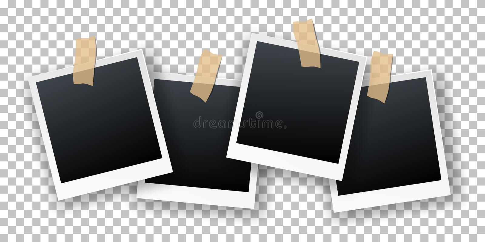 Vector retro realistic instant photo cards hanging on sticky tape isolated on transparent background. Illustration of polaroid. Photo frames with shadow effect stock illustration