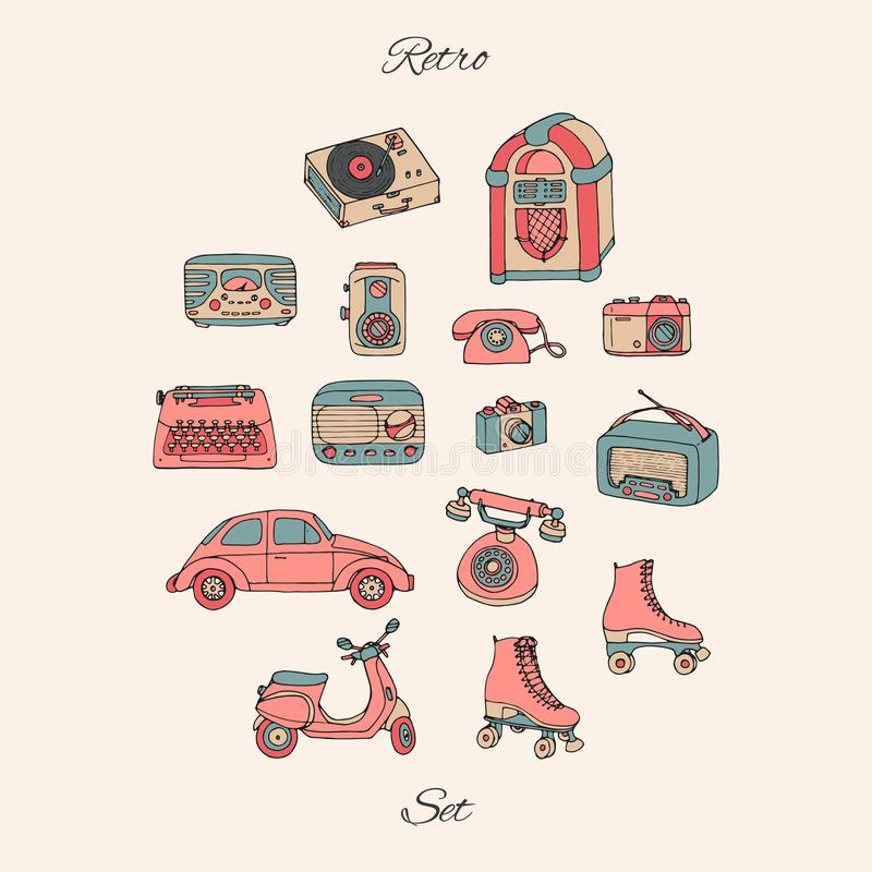 Vector retro reeks met antieke technologie, auto, autoped, juke-box, radi stock illustratie