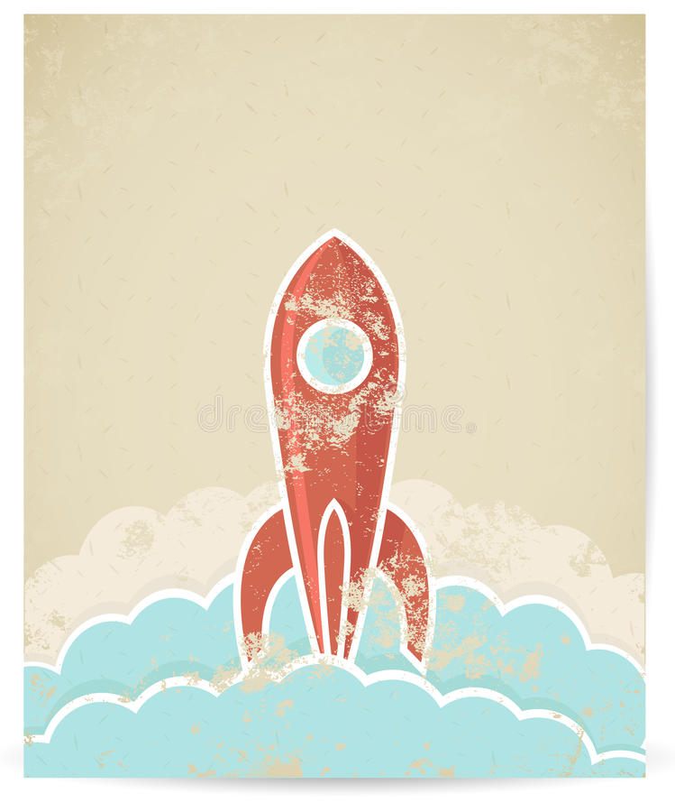 Download Vector Retro Rocket With Grunge Texture Stock Photos - Image: 29543193
