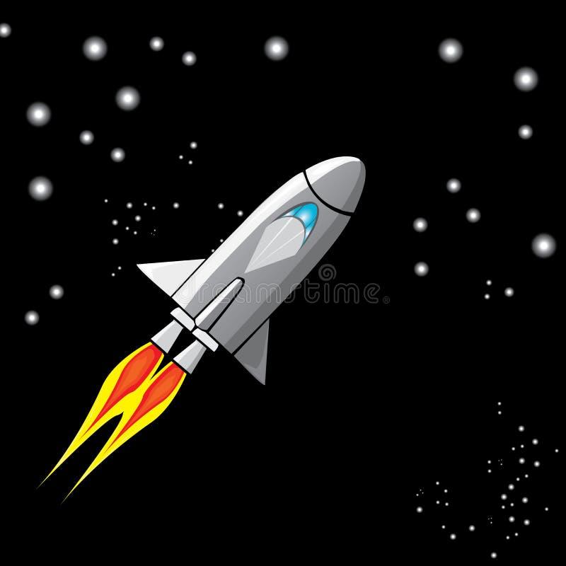 Vector Retro Rocket Ship Space In The Sky. Stock Vector