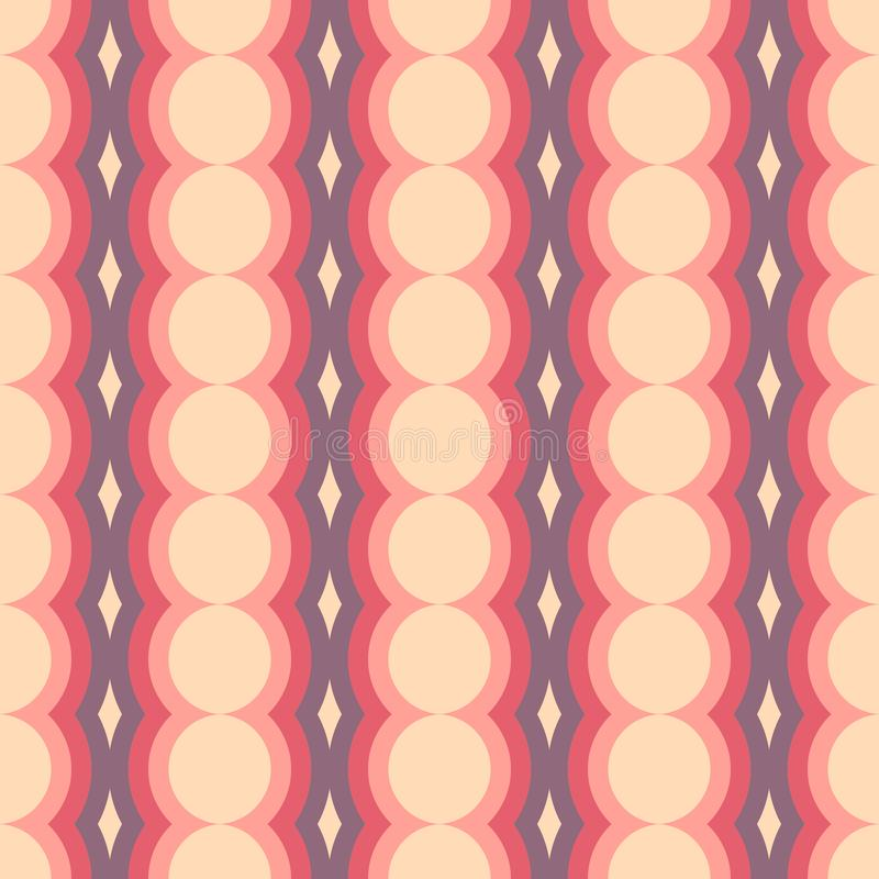 Vector retro rounded seamless pattern. Abstract geometric garlands for textile, prints, wallpaper, wrapping paper, web. Etc stock illustration