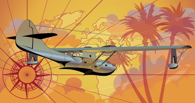 Vector retro seaplane royalty free illustration
