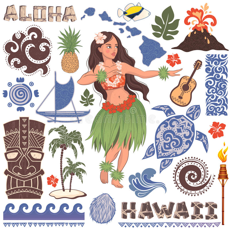 Vector Retro set of Hawaiian icons and symbols stock illustration