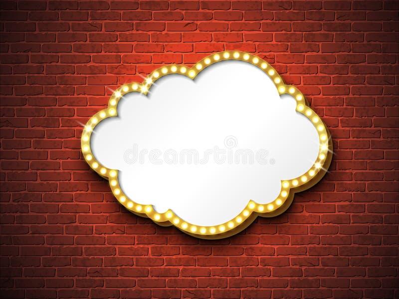 Vector retro signboard or lightbox illustration with customizable design on brick wall background. Cloud shape light stock illustration