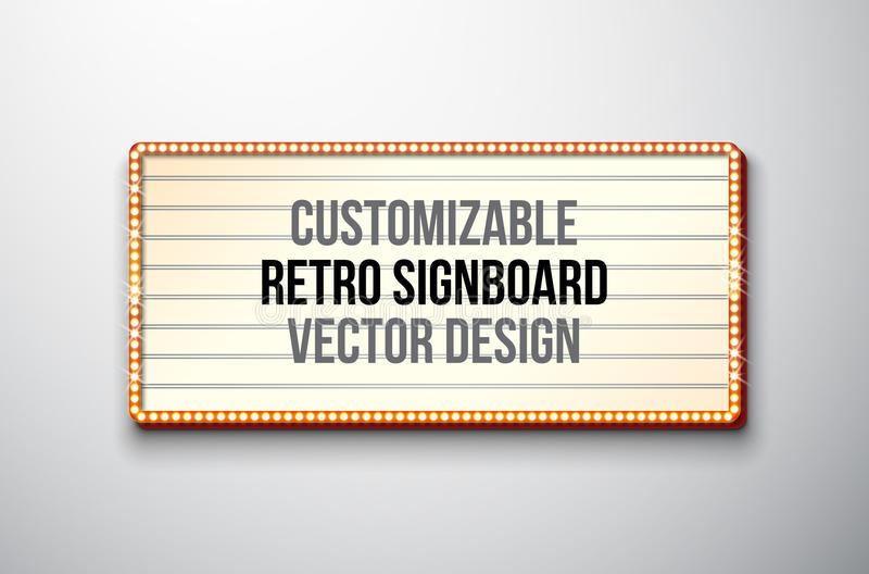 Vector retro signboard or lightbox illustration with customizable design on clean background. Light banner or vintage stock illustration