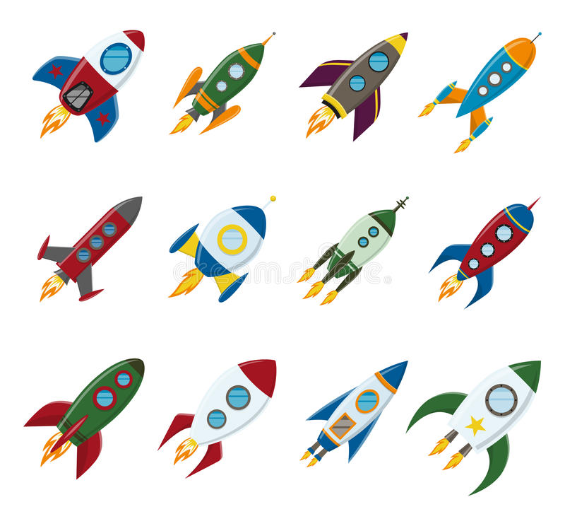 Vector retro space rocket ship icon set in a flat style. Design elements for background with project start up and royalty free illustration