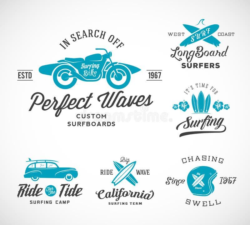 Vector Retro Stijl het Surfen Etiketten, Emblemen of T stock illustratie