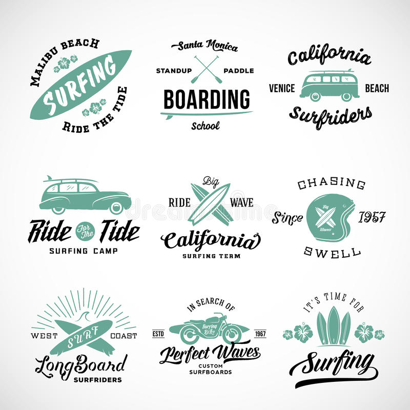 Vector Retro Style Surfing Labels, Logos or T-shirt Graphic Design Featuring Surfboards, Surf Woodie Car, Motorcycle vector illustration