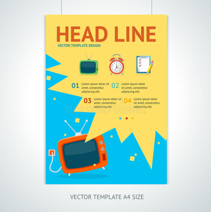 Vector retro television brochure flyer design vector illustration