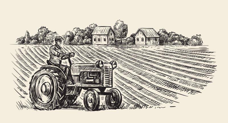 Vector retro tractor vector illustratie