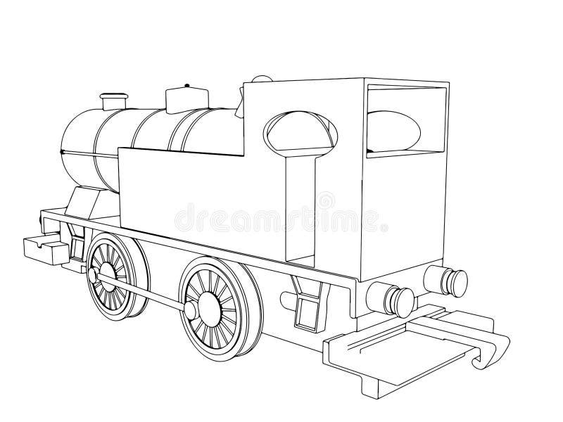 Vector retro train, vintage vector symbol royalty free illustration