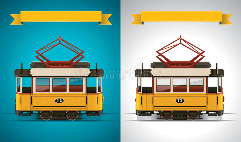 Vector retro tram XXL icon vector illustration